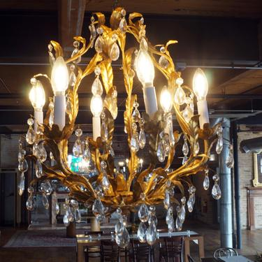 6 Lite Italian Gold Chandelier w Prisms
