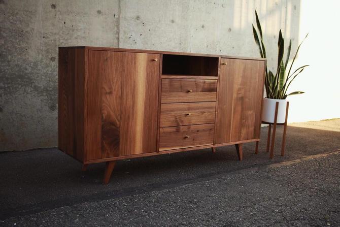 "Danish Modern Console, 60""W, Modern Credenza, Mid Century Sideboard, Solid Wood Media Console (Shown in Walnut) by TomfooleryWood"