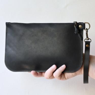 Leather Zipper Clutch, Black