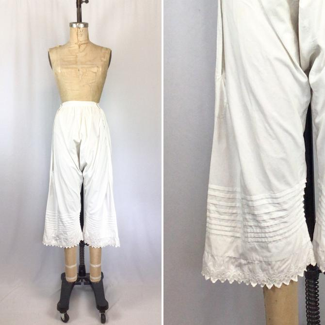 Vintage Edwardian Bloomers | Vintage white eyelet trimmed cotton bloomers | 1910's white anglaise broderie knickers by BeeandMason