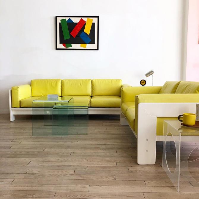 """1975 Tobia Scarpa for Knoll """"Bastiano"""" Sofas in Yellow"""