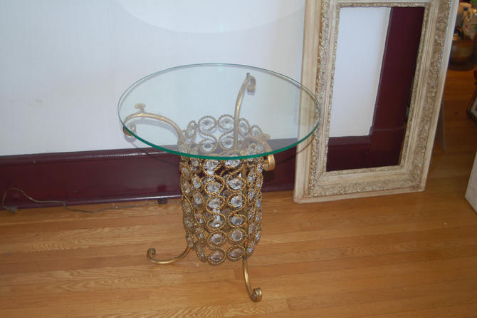 Banci Firenze Hollywood Regency Italian Unique Illuminated Glass Topped Table w/ Gilt Metal & Crystal Prisms ~ 60s ~ Rare Italy Lead Crystal by YesterdayAndTomorrow