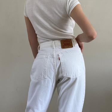 80s Levis white jeans / vintage white denim Levis 550 high waisted tapered leg jeans / Levis mom jeans made in USA | 27 W by RecapVintageStudio