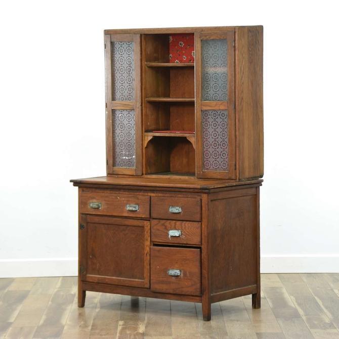 Antique Kitchen Hutch Hoosier Display Cabinet (2 Pcs)