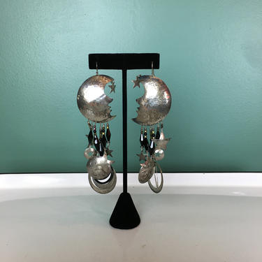 sterling silver earrings, vintage earrings, moon and stars, huge earrings, drop earrings, chandelier earrings, jet glass earrings, bohemian by BlackLabelVintageWA