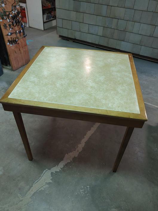 "Vintage ""Leg-O-Matic""  Folding Game Table w/ vinyl top"