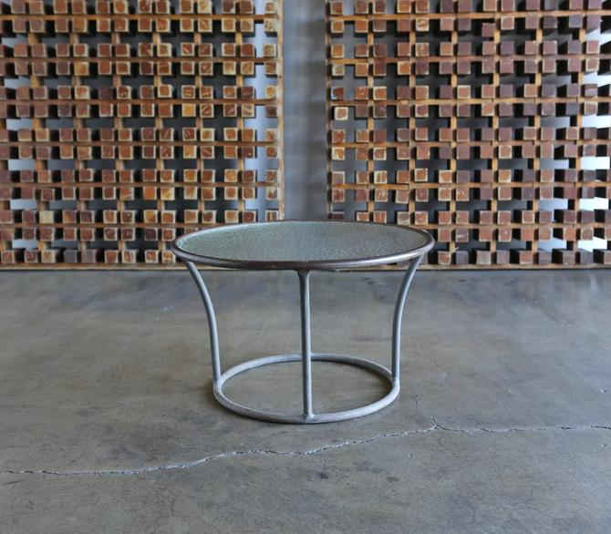 Bronze and Pebble Glass Side Table by Kipp Stewart for Terra circa 1965