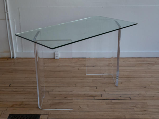 1970's Lucite and Glass Vanity Table