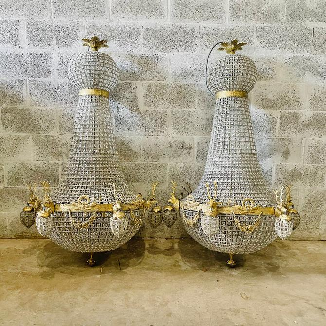 Pair of Deer Stag Chandelier *Set of 2 XX Extra Almost 5 Feet Tall Tall French Stag Deer Head JUMBO Basket Brass Empire Bowl Interior Design by SittinPrettyByMyleen