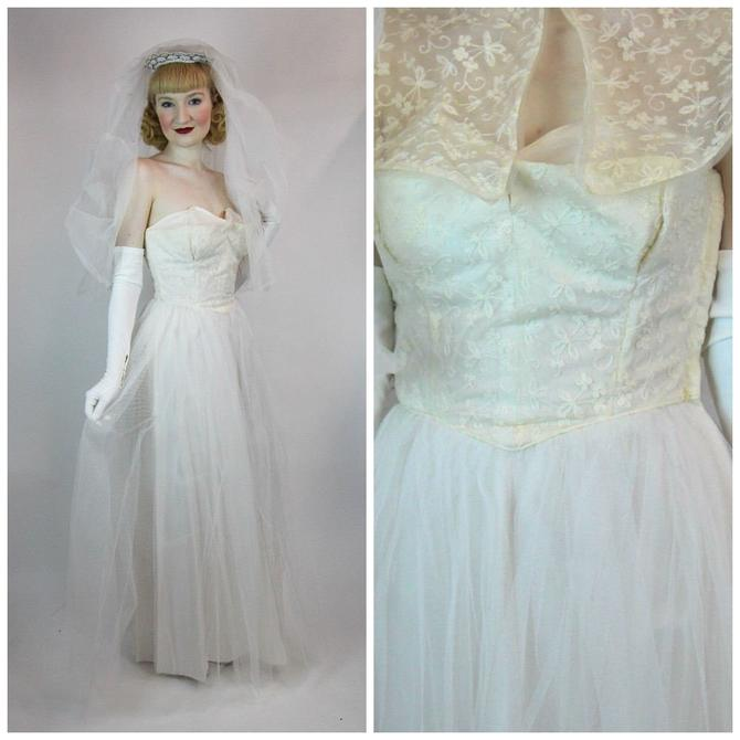 True Vintage 1940s 50s Strapless Lace & Tulle Wedding Dress Gown ...