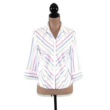 Pastel Striped Collared Shirt Women, Petite Blouse Small, Fitted Button Up Top, Casual Spring Summer, 90s Vintage Clothing 1990s Clothes by MagpieandOtis