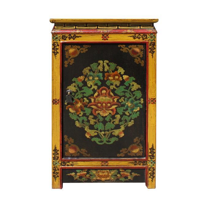 Black Yellow Tibetan Style Floral End Table Nightstand cs5766E by GoldenLotusAntiques