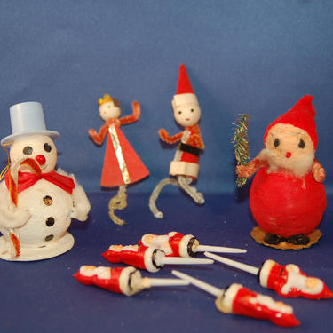 Japan 9 pc. Christmas Grouping ~ Spun Cotton Mica Snowman and Spun Cotton Santa / Elf w Chenille Arms + 2 Chenille Tie-on + 5 Santa Picks by YesterdayAndTomorrow