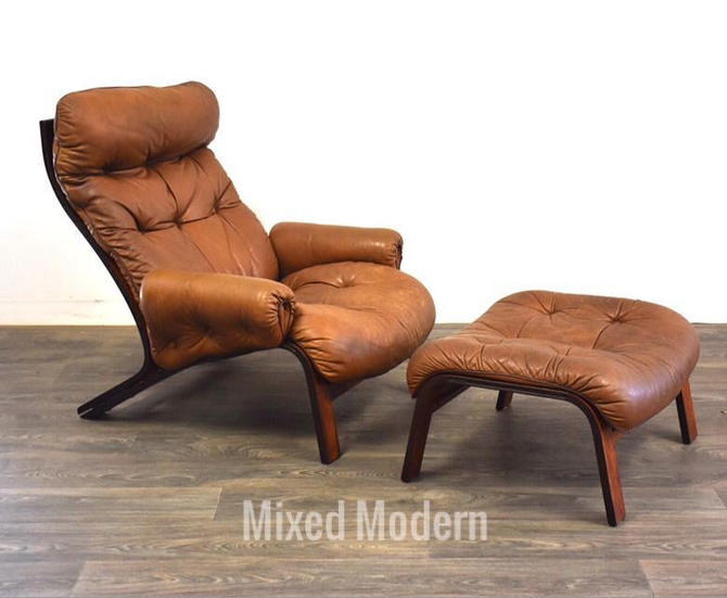 Rybo Rykken Rosewood Leather Lounge Chair & Ottoman by mixedmodern1