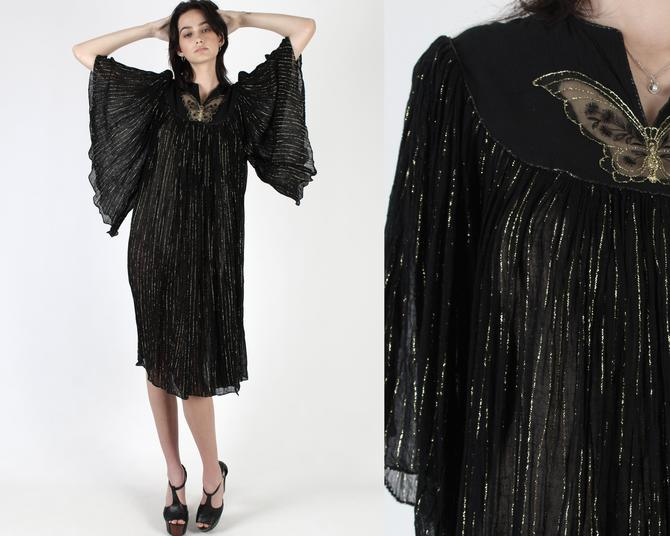 Black Angel Sleeve Gauze Dress / Thin Gold Metallic Threads Dress / Sheer Butterfly Chest / Vintage 80s Kimono Festival Grecian Mini Dress by americanarchive