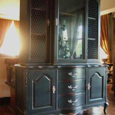 Distressed Black French Country Hutch by Artisan8