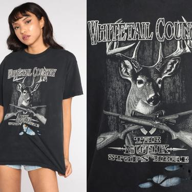 Deer Hunting Shirt 90s Animal TShirt Black Ripped Tee Vintage Graphic Tee Wilderness Screen Print 1990s Distressed Medium Large by ShopExile