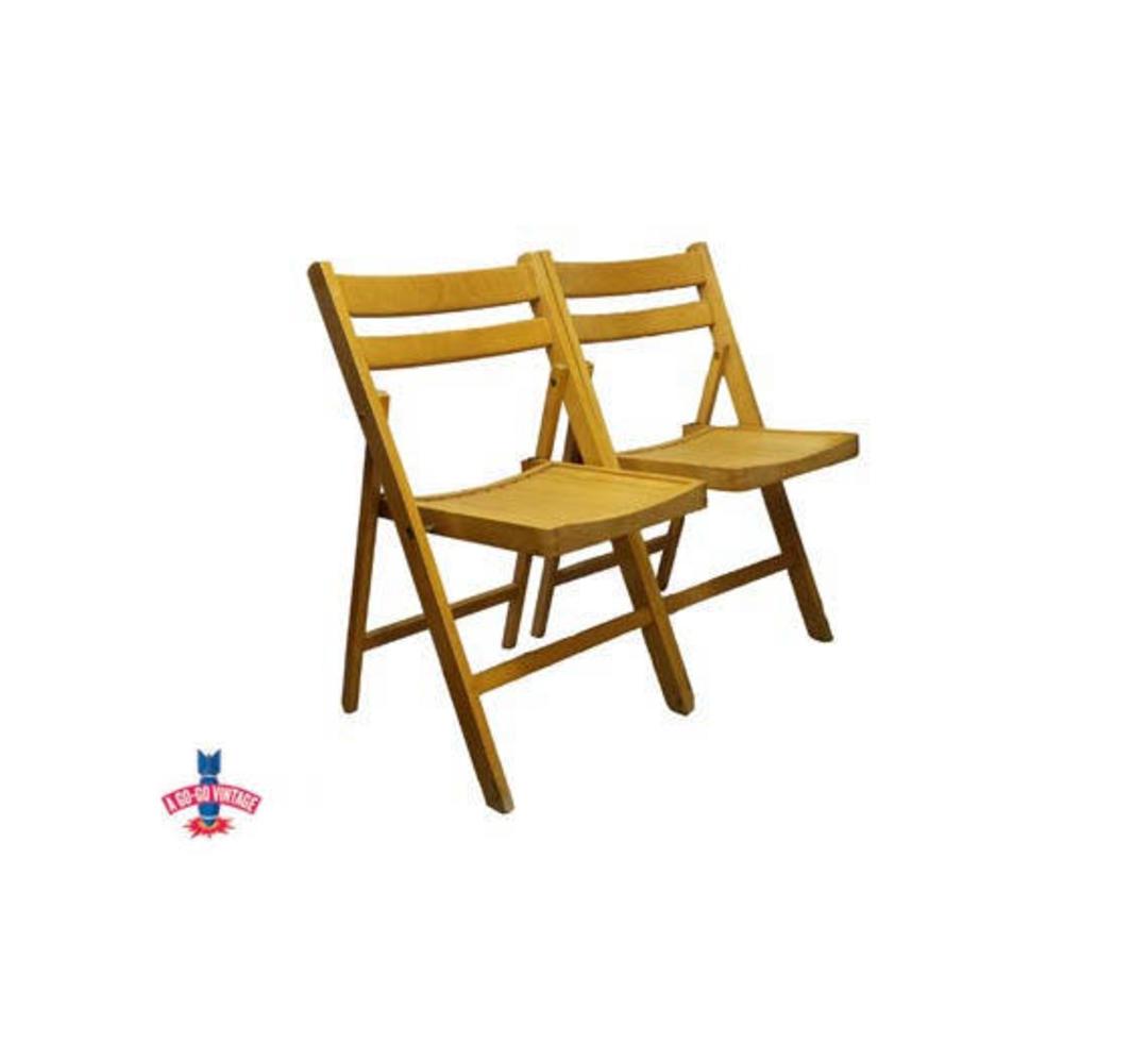Antique Wood Folding Chairs Vintage Blond Slat Wood