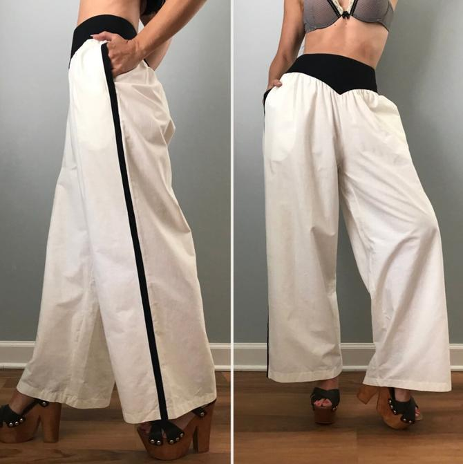 Vintage Oscar De La Renta White Cotton Palazzo Pants Side Stripe by SpeakVintageDC