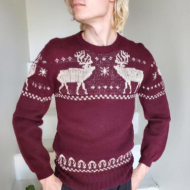 1940s Handknit Reindeer Sweater Wool Knitwear by AmalgamatedShop