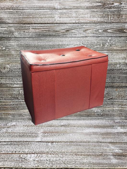 Vintage Footstool, Atomic 1960's Ottoman, Mid Century Modern Storage Box, Cedar Treasure Chest, Black & Red Padded Seat, Vintage Furniture by AGoGoVintage