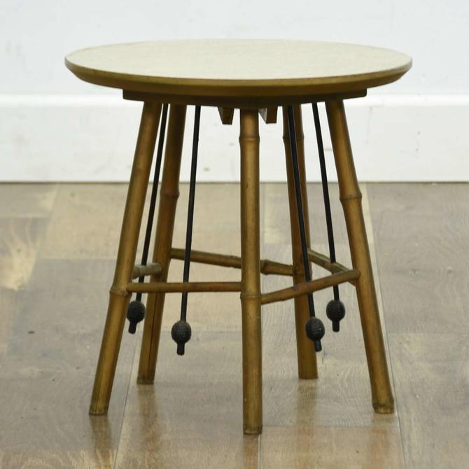 Mid Century Japanese Gold Bamboo End Table