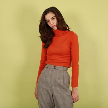 90s Pumpkin Orange Long Sleeve Turtleneck Vintage Stretchy Fitted Sweater by AppleBranchesVintage