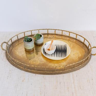 Large Vintage Midcentury Brass Hollywood Regency Bamboo Decorative Serving Tray with Distress and Side Handles - Made in India by PortlandRevibe