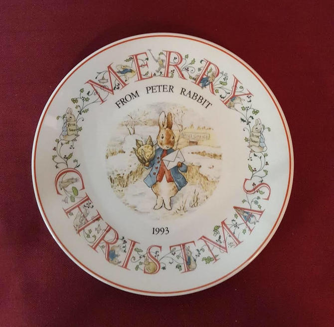 Vintage Beatrix Potter Nursery Ware 1993 Peter Rabbit Christmas Plate By Wedgwood by OverTheYearsFinds