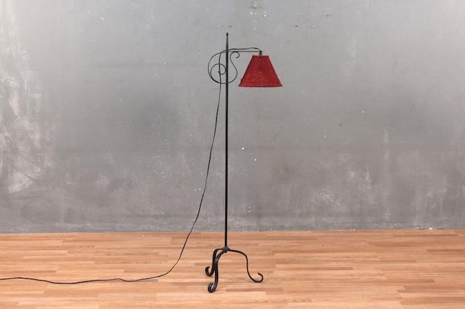 Curled Iron Floor Lamp with Beaded Shade
