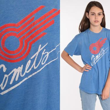 Kansas City Comets Shirt 80s Tee Retro Tshirt 1980s Vintage Faded Blue T Shirt Graphic Soccer Sports Shirt Medium Large by ShopExile