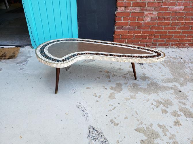 Incredible Tile Top Boomerang Mid-century Coffee Table