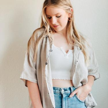 Oatmeal Linen Button Up Blouse / By CP Shades by MadroneClothing