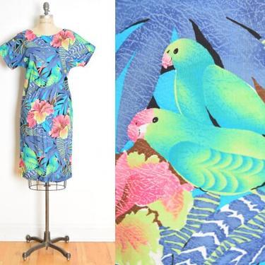 vintage 80s dress Hawaiian print birds parrots tropical midi dress M blue clothing by huncamuncavintage