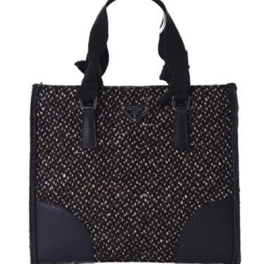 Vintage PRADA Milano Monogram Logo Tweed Leather Mini Tote Clutch Evening Bag Purse Handbag by MoonStoneVintageLA