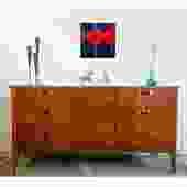 Scintillating Walnut Brass MCM Credenza Dresser