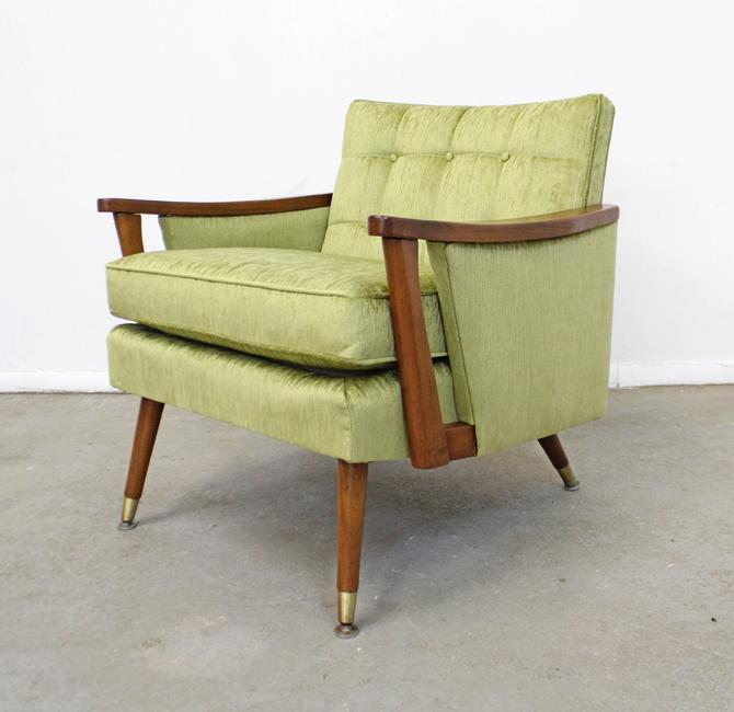 Mid-Century Danish Modern Vintage Velvet Walnut Accent/Lounge Chair by AnnexMarketplace
