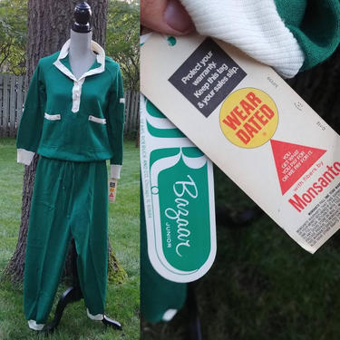 NOS New Sears by Monsanto Hunter Green Warm Up Track Suite Jump Suit Sweat Suit Sweatshirt Jacket and Sweatpant Size 11 by RedsRustyRelics