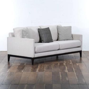 Contemporary Black Frame Ivory Upholstery Sofa