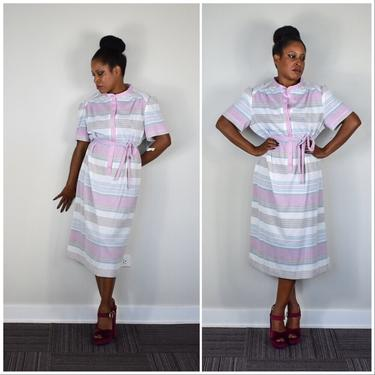 70s Shirtdress in Pastel Stripe by Marty Gutmacher with Original Tags/Unworn by LavenderJosephine