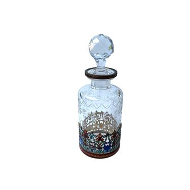 Antique French Scent Bottle With Enamelled Base by FunkyRelic