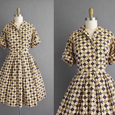 vintage 1950s   Short sleeve plaid print cotton full skirt summer day shirt dress   XL   50s dress by simplicityisbliss