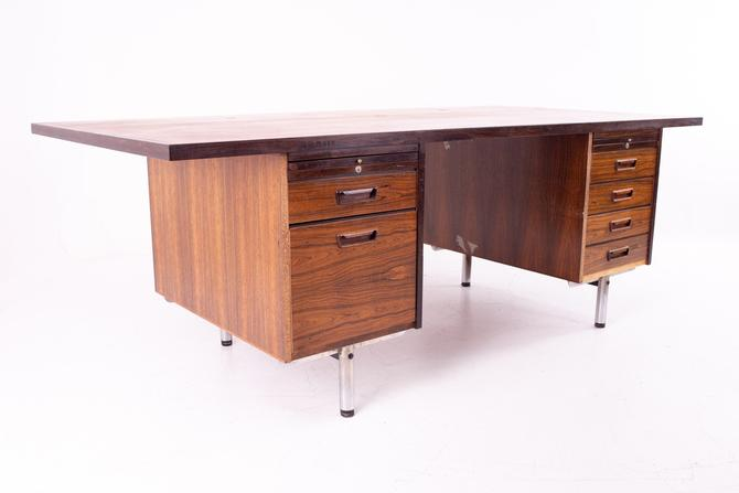George Nelson Style Mid Century Rosewood and Chrome Executive Desk - mcm by ModernHill