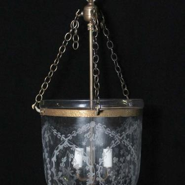 Antique Victorian 10.5 in. Etched Glass Bell Jar Pendant Light