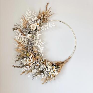 Fall Neutral minimalist Boho dried flower wreath, Dried Foliage Wreath, Natural wreath, Neutral everlasting wreath, Dried flower arrangement by NovaWreaths