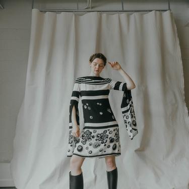 RARE 1960s Pauline Trigere split sleeve silk crepe Mod printed abstract dress OOAK by DevoreVintage