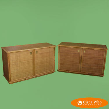Pair of Faux Bamboo Woven Rattan Cabinets