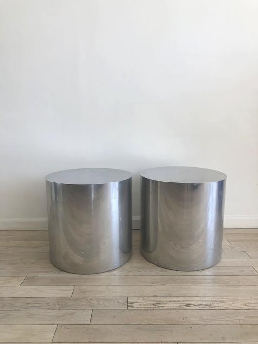Paul Mayen for Habitat 1970s Polished Aluminum Drum Table