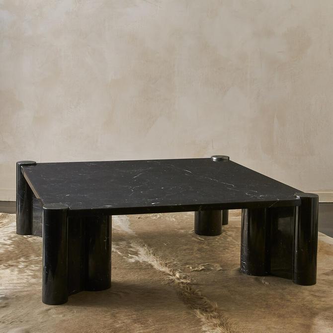 Gae Aulenti Knoll International Marble Jumbo Table in Nero Marquina  Black Marble