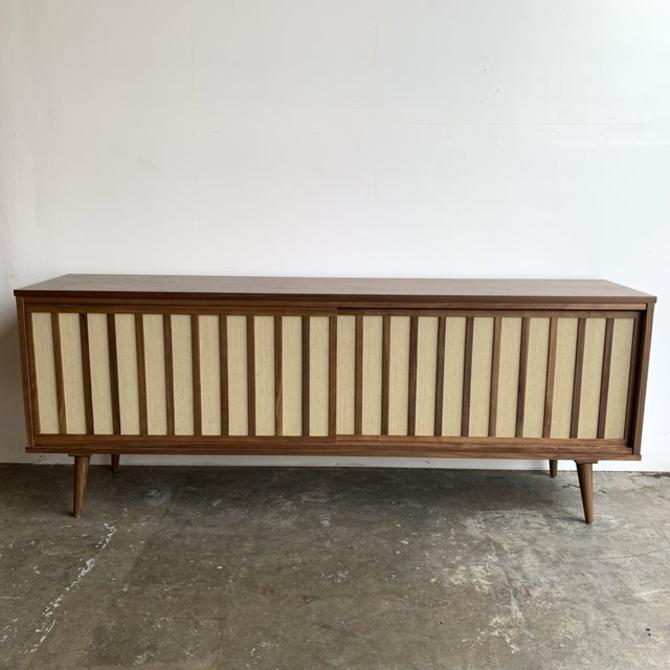 Mid Century Modern Walnut and Cane Credenza by VintageOnPoint